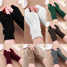 New Unisex Men Women Soft Knitted Fingerless Winter Gloves Warm Mitten Solid