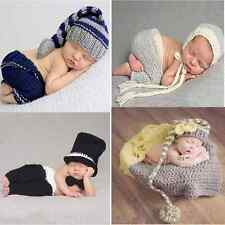 Newborn Girls Boys Baby Knit Crochet Hat Costume Photo Photography Prop Outfits