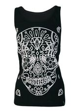 Darkside Sugar Skull Singlet Tank Top Alternative Gothic Halloween Punk Goth Tee