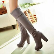Women high thick heel slouch cuffed over the knee winter thigh tall pull on boot