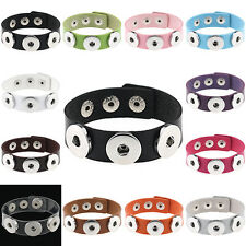PU Leather Bracelet Fits Metal Snap Press Buttons Gothic Adjustable Wristband