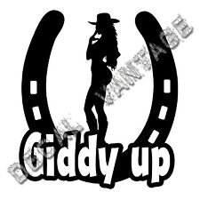 Horseshoe Giddy Up Cowgirl Silhouette Vinyl Sticker Decal  Choose Size & Color