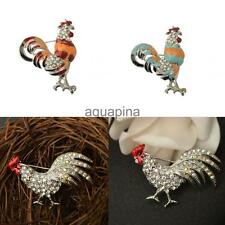 Rooster Hen Farm Chicken Animal Silver Plated Crystal Rhinestone Brooch Pin