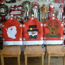 Christmas Santa Elk Kitchen Dining Table Banquet Chair Seat Back Cover Decor