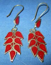 Earrings Leaf Afghan Kuchi Tribal Alpaca Silver 1 1/2""