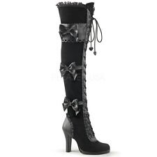 Demonia Glam-300 Black Velvet Over-Knee Lace Up Heel Boots - Gothic,Goth,Punk,Bl