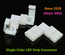 2-Pin 8mm 10mm L Shape Weldless Connector for 3528 5050 Single Color LED Strip