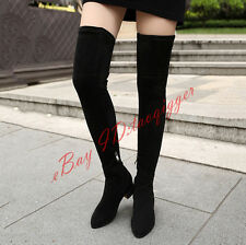 Womens Low Heels Over Knee High Boots Suede Slouch Thigh High Roma Boots US SIZE