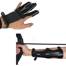 3 Strap Shooting Hunting Archery Arm Guard Three Finger Glove Protective Gear GL
