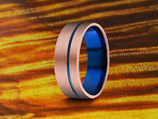 Wedding Band Rose Gold Tungsten Ring With Blue Inside 8MM,Two Tone Ring,Brushed.