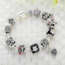 Lampwork Flower Handmade Metal Murano Glass Beads Fit European Charm Bracelet