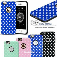 NEW TPU Rubber Hard Hybrid Case White Textured Polka-dots Cover For iPhone 6 6S