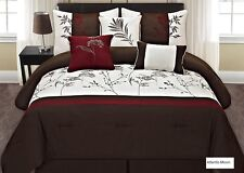 Luxury 7 PCS Embroidery Bedding Brown/White/Burgundy Comforter Set New.