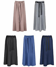 Womens Polyester Skirt 8 Panels Flare Maxi Skirt Elasticated Waist Tie Belt 35 I