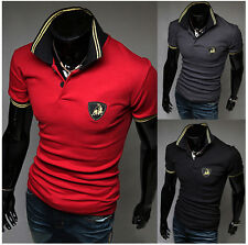 New Stylish Mens Polo Shirt T-shirts Slim Fit Short Sleeve Casual Tee Shirts dHD