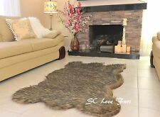 Black Tip Gray Coyote Plush Fur Rugs Bearskin Home Accents Rug Decors Rustic