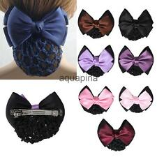 Fashion Women Lady Hair Spring Clip Bow Hairnet Bun Cover Snood Hair Accessory