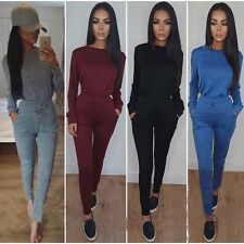 2Pcs Womens Hoodies Sport Tops Pants Tracksuit Sweatshirt Sweat Suit Jogging Set