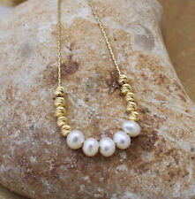 Bead ball freshwater pearl gemstone necklace, 14K gold filled chain gift for her