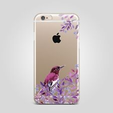 Floral Flower Bird Design TPU Rubber Silicone Clear Cover Case Back For iPhone