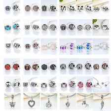 1PC Silver Plated Pure Peace Love Heart Charm Beads A fit European Bracelet