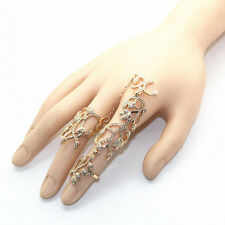 Hot Fashion Punk Women Crystal Leaf Chain Full Finger Ring Armour Knuckle Ring