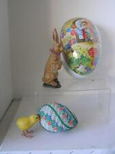 Lot of 4 Easter Candy Container Set Germany Chalkware Rabbit wool Chick & EGG