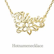 Any 14K Gold Plated Name Necklace-Beautiful Flower Underline . Name Necklace