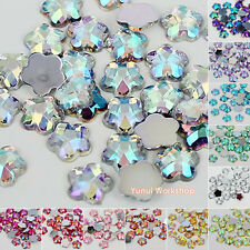 Flower AB Colors Acrylic Flat Back Facet Rhinestones Iridescent Scrapbook Craft