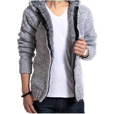 Men's Winter Casual Outerwear Thick Knit Cardigan Add Wool Hooded Sweater Coat