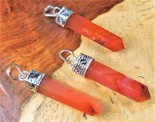 Carnelian Agate Necklace - Red Indian Style Gemstone Point Pendant (A54)