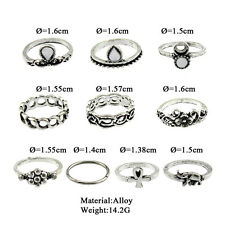 Women 10 Pcs/Set Gold/Silver Plated Antique Vintage Midi Ring Set Knuckle Rings