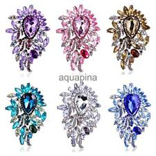 Waterdrop Fully-Jewelled Rhinestone Brooch Purple Brown Green Pink Blue White