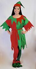 5 Pc KIDS GIRLS BOYS ELF CHRISTMAS COSTUME RED GREEN Size 6-8, 8-10, 10-12,12-14