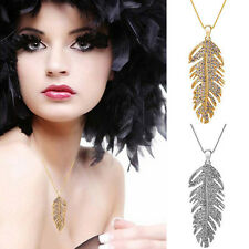 Women's Elegant Leaf Shape Necklace Pendant Feather Love Wings Charming Chain