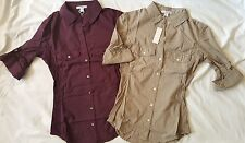 James Perse Ribbed Panel Button Up Shirt Size 0 1 2 3 4 PRS FUME $145