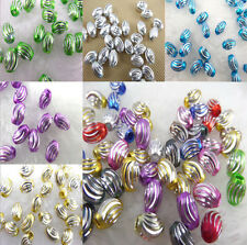 50Pcs Oval Big Hole Carved Aluminum Loose Charm Spacer Beads Accessories 9x6mm