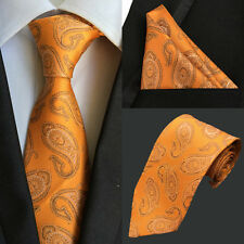 T033 100% silk mens neck tie set pocket square & Ties oragne / black paisley