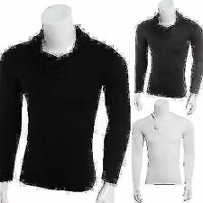 Mens Long Sleeved V-Neck Casual T-shirt Slit Fit Fashion Tops Tee Spring Shirt