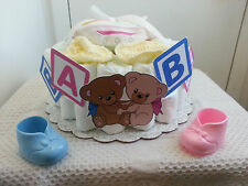 1 Tier Bottoms Up Diaper Cake Baby Shower Centerpiece Gift Girl Boy Unisex