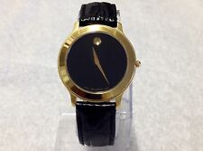 """Men or Unisex Watch, MOVADO MUSEUM """"18 kt Gold overlaid-Black Exotic  Leather """""""