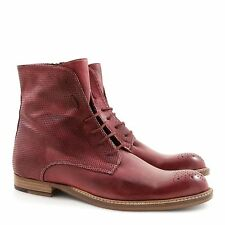 IB2138-LEONARDO SHOES Stivaletti rosso DONNA WOMEN'S Ankle boots leather red