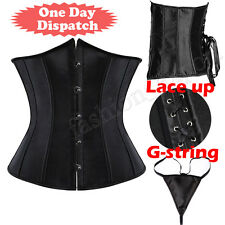 Satin Lace up Bone Waist Trainer Cincher Body Shaper Underbust Tight Corset TF39