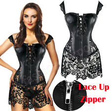 Faux Leather Strap Steampunk Zip Plus Corset Bustier Lace up Gothic Skirt TF5941