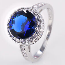 925 Silver Blue Sapphire Ring Jewelry Wedding Engagement Size 6-10