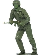 Mens Green Army Man Toy Soldier Military Camo Outfit Fancy Dress Costume