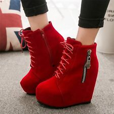 Fashion Womens Super High Heels Lace Up Ankle Boots Platform Wedges Party Shoes