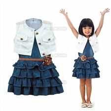 2Pcs Toddler Sleeveless Top Shawl Denim Outfit Flower Dress Baby Vest Girl Kid H