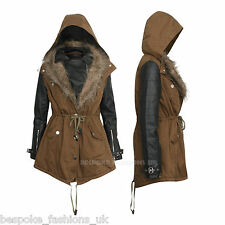 Womens Ladies Hooded Khaki Parka PU Sleeve Faux Fur Jacket Coat UK SIZE 14