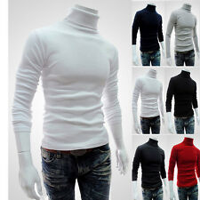 New Turtle Neck Solid Turtleneck Mens Thermal Cotton Knit Sweaters Stretch Shirt